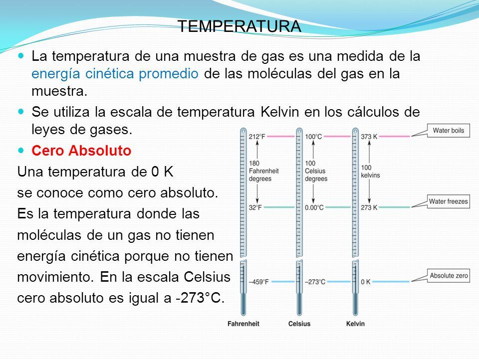 TEMPERATURA La temperatura de una muestra de gas es una medida de la energía cinética promedio de las moléculas del gas en la muestra.