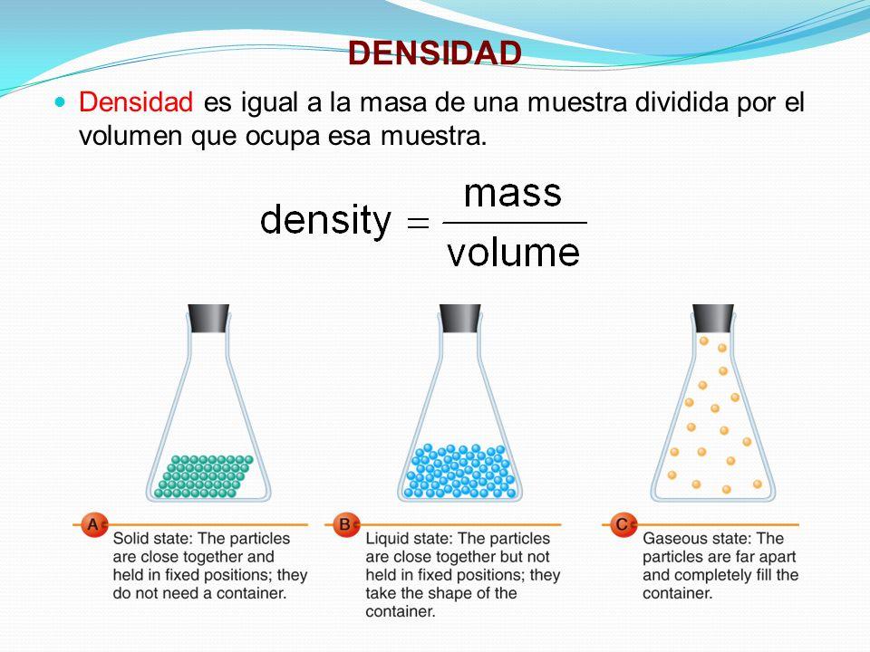 DENSIDAD Densidad es igual a la masa de una muestra dividida por el volumen que ocupa esa muestra.