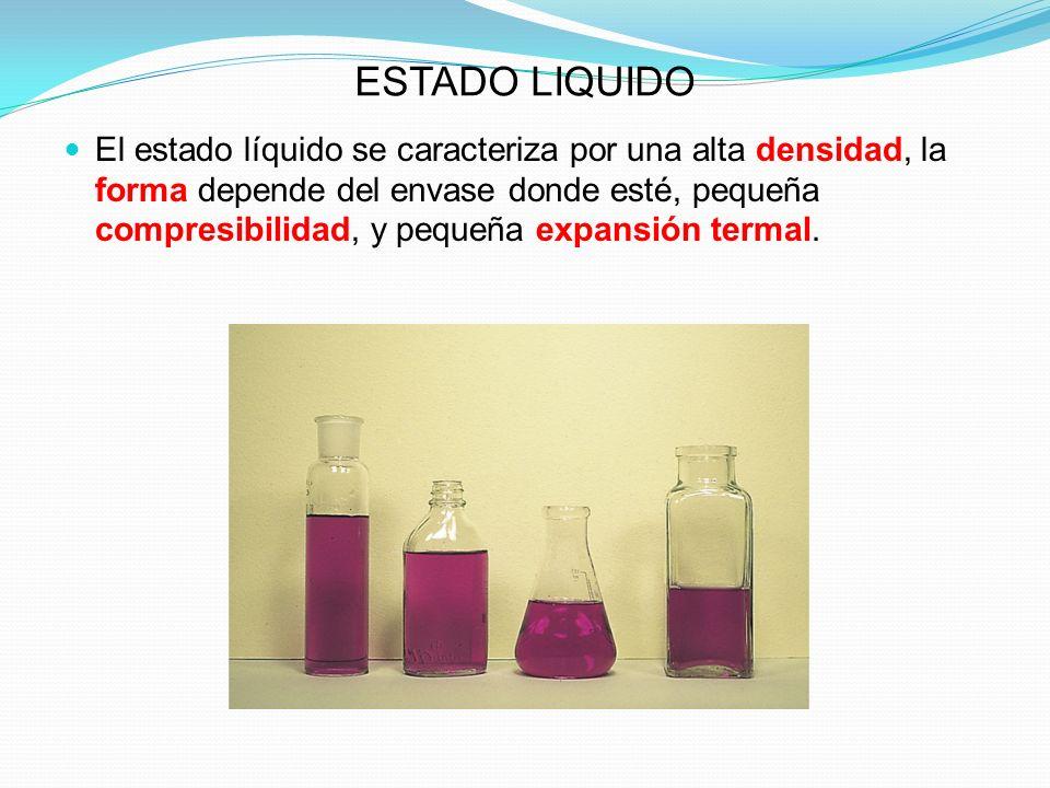 ESTADO LIQUIDO El estado líquido se caracteriza por una alta densidad, la forma depende del envase donde esté, pequeña compresibilidad, y pequeña expansión termal.