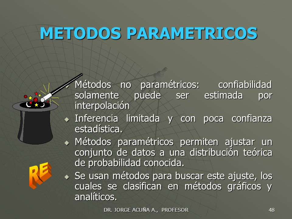 DR. JORGE ACUÑA A., PROFESOR 47 DATOS EXPERIMENTALES Tres tipos de datos: datos de laboratorio, datos de manufactura y datos de campo. Tres tipos de d