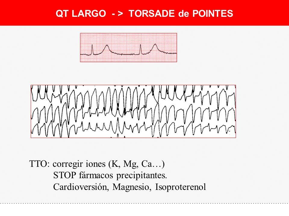 QT LARGO - > TORSADE de POINTES TTO: corregir iones (K, Mg, Ca…) STOP fármacos precipitantes. Cardioversión, Magnesio, Isoproterenol