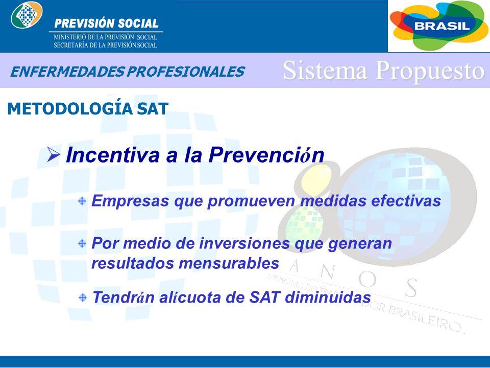 BRASIL Sistema Propuesto Incentiva a la Prevenci ó n METODOLOGÍA SAT ENFERMEDADES PROFESIONALES Amplia la responsabilidad social de la empresa Tiene c