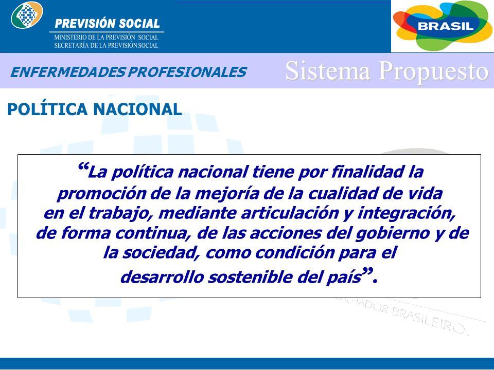 BRASIL Sistema Propuesto POLÍTICA NACIONAL ENFERMEDADES PROFESIONALES Instituci ó n de un Plano Nacional de Seguridad y Salud del Trabajador Definiend