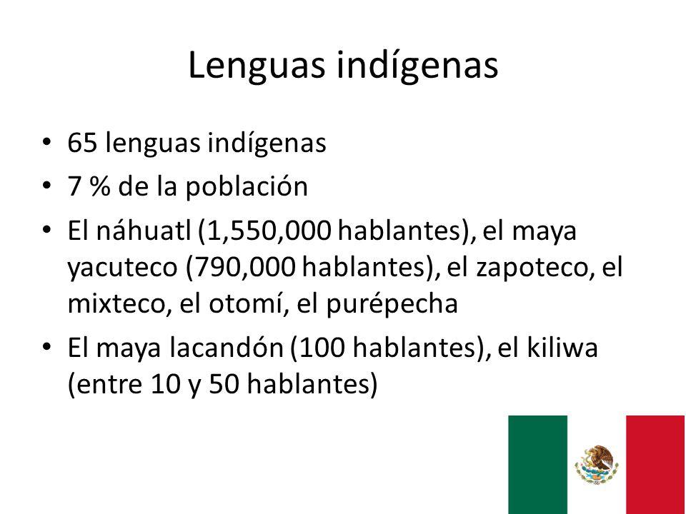 Lenguas indígenas 65 lenguas indígenas 7 % de la población El náhuatl (1,550,000 hablantes), el maya yacuteco (790,000 hablantes), el zapoteco, el mix