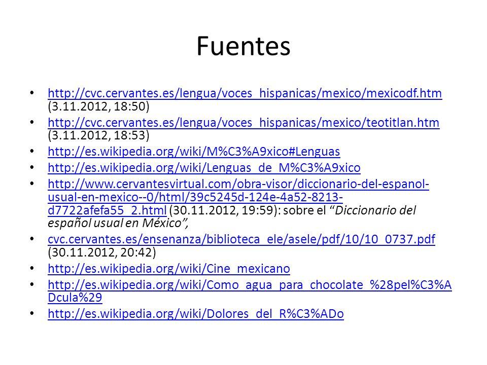 Fuentes http://cvc.cervantes.es/lengua/voces_hispanicas/mexico/mexicodf.htm (3.11.2012, 18:50) http://cvc.cervantes.es/lengua/voces_hispanicas/mexico/