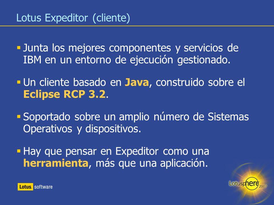 12 Lotus Expeditor (cliente) Junta los mejores componentes y servicios de IBM en un entorno de ejecución gestionado. Un cliente basado en Java, constr