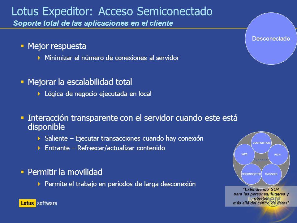 17 Lotus Expeditor: Acceso Semiconectado Mejor respuesta Minimizar el número de conexiones al servidor Mejorar la escalabilidad total Lógica de negoci