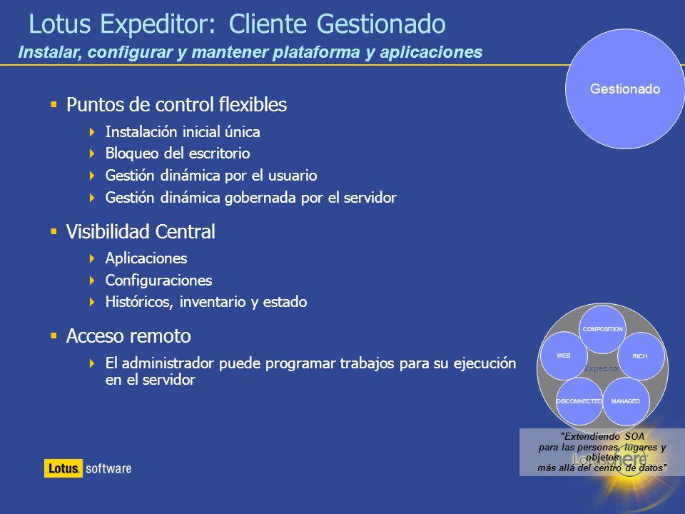 18 Lotus Expeditor: Cliente Gestionado Puntos de control flexibles Instalación inicial única Bloqueo del escritorio Gestión dinámica por el usuario Ge
