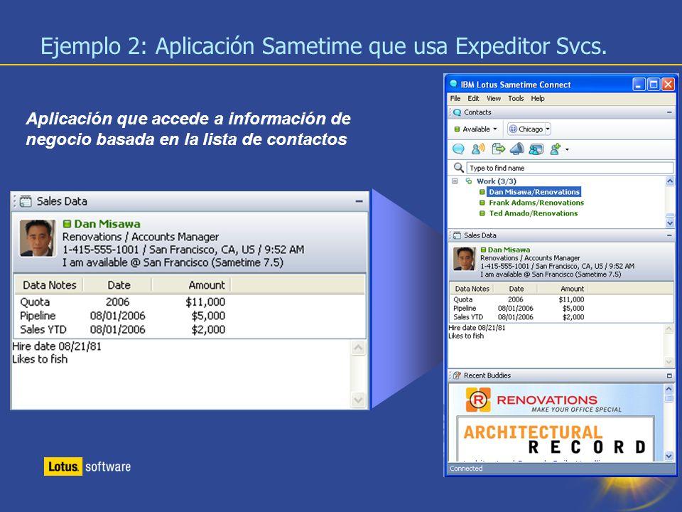 21 Aplicación que accede a información de negocio basada en la lista de contactos Ejemplo 2: Aplicación Sametime que usa Expeditor Svcs.