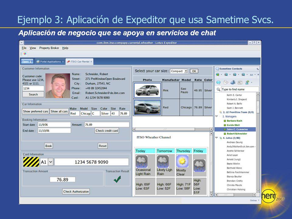 22 Aplicación de negocio que se apoya en servicios de chat Ejemplo 3: Aplicación de Expeditor que usa Sametime Svcs. 3. Managers
