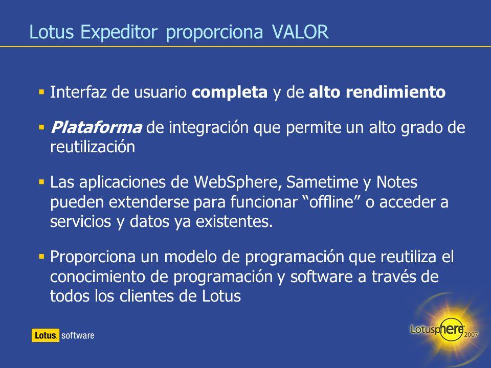 23 Lotus Expeditor proporciona VALOR Interfaz de usuario completa y de alto rendimiento Plataforma de integración que permite un alto grado de reutili