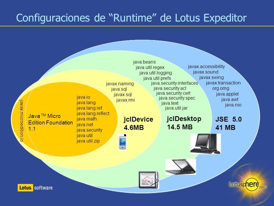 29 Configuraciones de Runtime de Lotus Expeditor JSE 5.0 41 MB jclDesktop 14.5 MB jclDevice 4.6MB javax.accessibility javax.sound javax.swing javax.tr