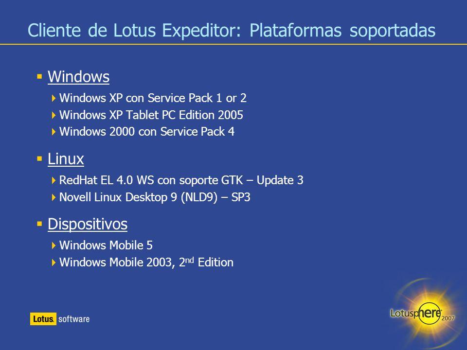 32 Cliente de Lotus Expeditor: Plataformas soportadas Windows Windows XP con Service Pack 1 or 2 Windows XP Tablet PC Edition 2005 Windows 2000 con Se
