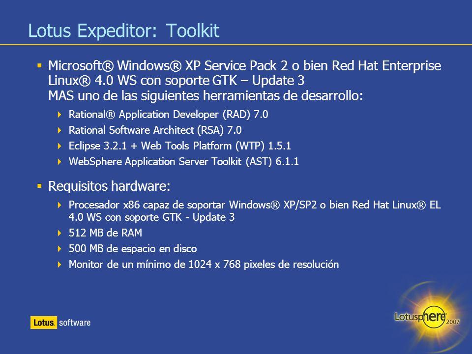 33 Lotus Expeditor: Toolkit Microsoft® Windows® XP Service Pack 2 o bien Red Hat Enterprise Linux® 4.0 WS con soporte GTK – Update 3 MAS uno de las si