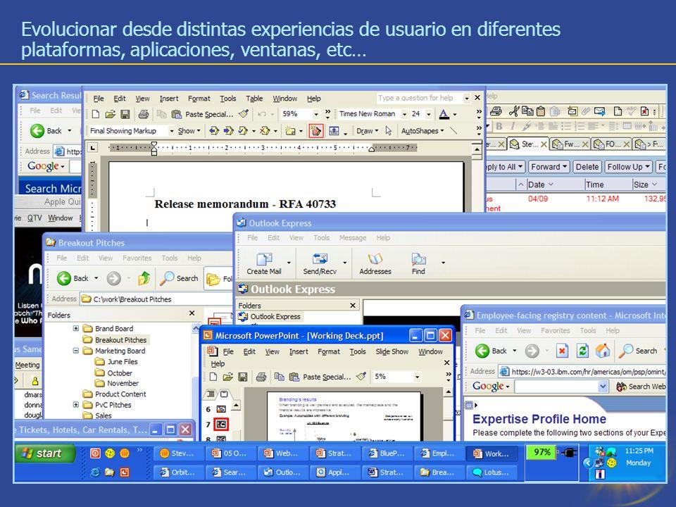 8 Evolucionar desde distintas experiencias de usuario en diferentes plataformas, aplicaciones, ventanas, etc…