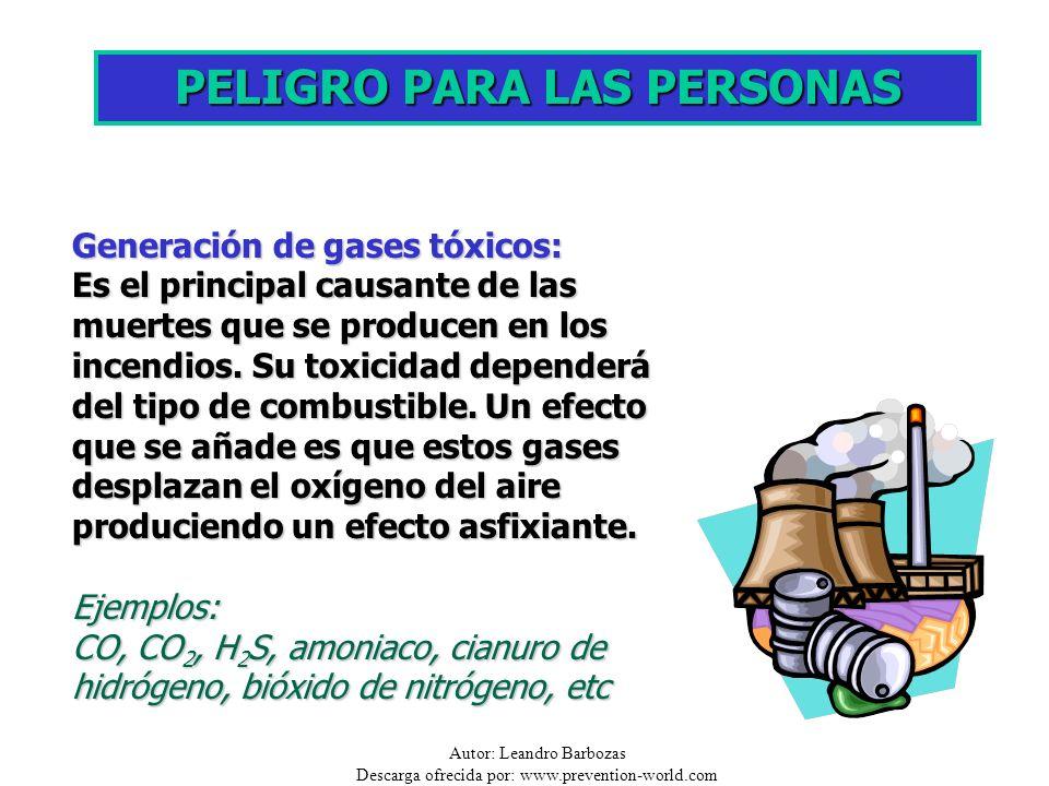 Autor: Leandro Barbozas Descarga ofrecida por: www.prevention-world.com PELIGRO PARA LAS PERSONAS Generación de gases tóxicos: Es el principal causant