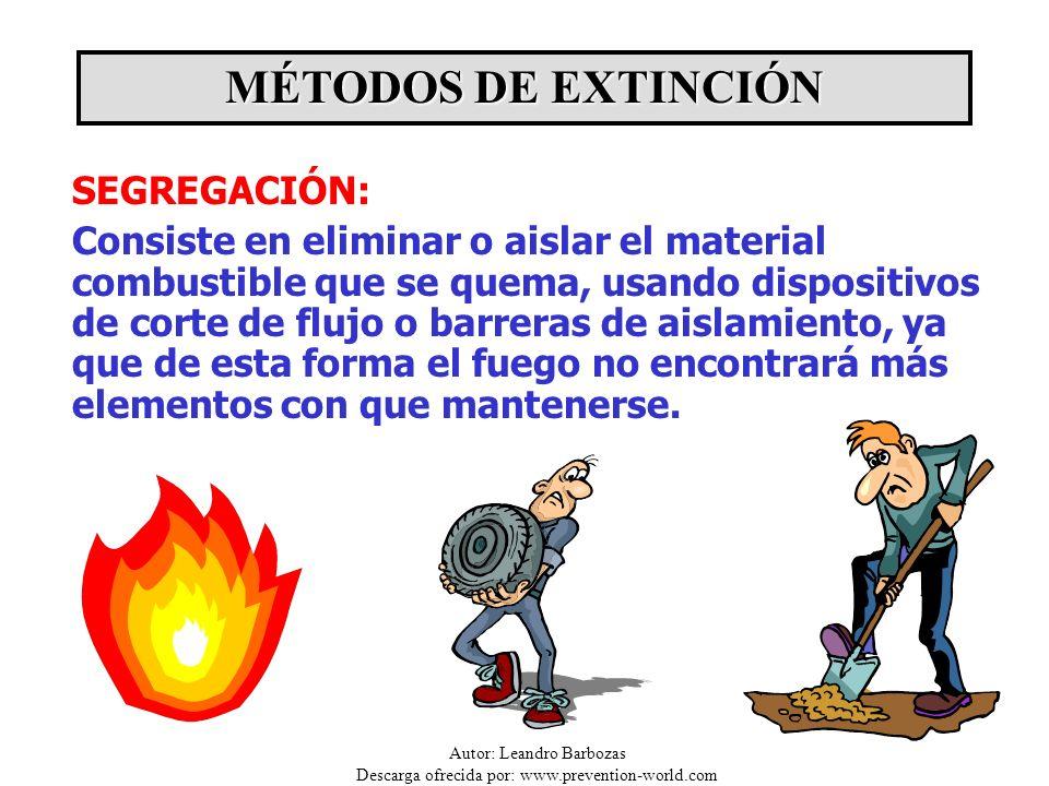 Autor: Leandro Barbozas Descarga ofrecida por: www.prevention-world.com SEGREGACIÓN: Consiste en eliminar o aislar el material combustible que se quem