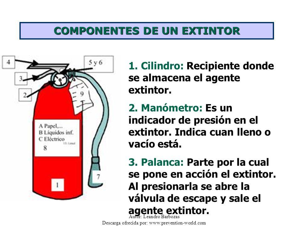 Autor: Leandro Barbozas Descarga ofrecida por: www.prevention-world.com COMPONENTES DE UN EXTINTOR 1. Cilindro: Recipiente donde se almacena el agente