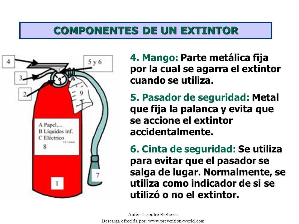 Autor: Leandro Barbozas Descarga ofrecida por: www.prevention-world.com 4. Mango: Parte metálica fija por la cual se agarra el extintor cuando se util