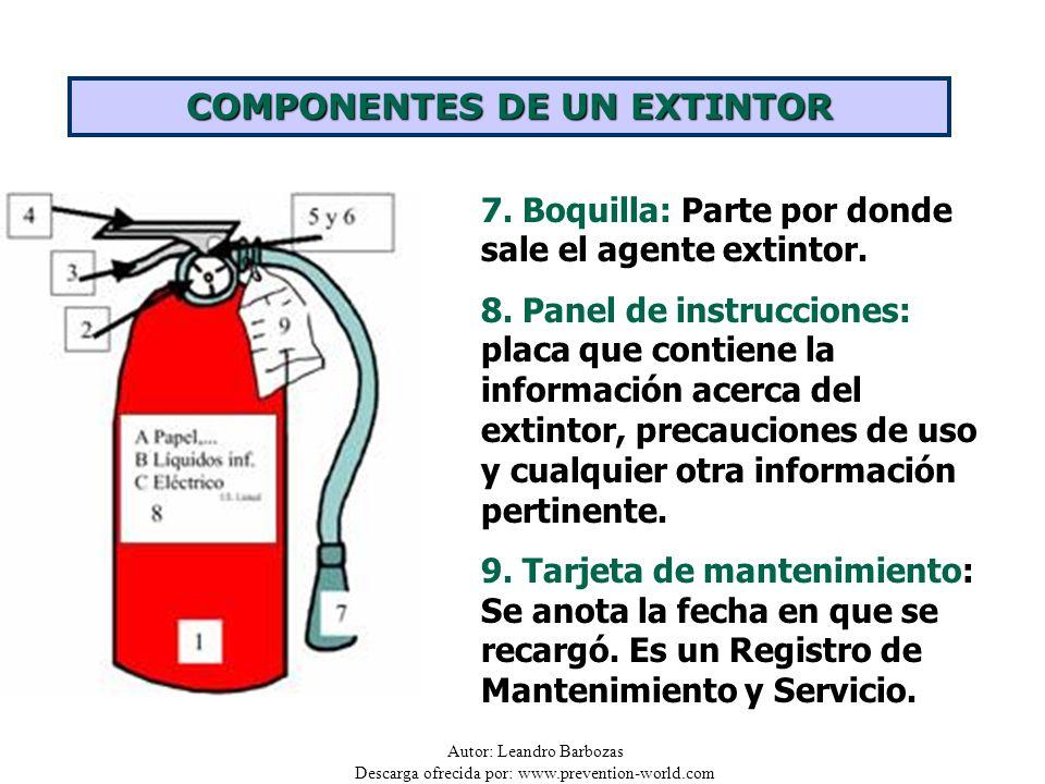 Autor: Leandro Barbozas Descarga ofrecida por: www.prevention-world.com 7. Boquilla: Parte por donde sale el agente extintor. 8. Panel de instruccione
