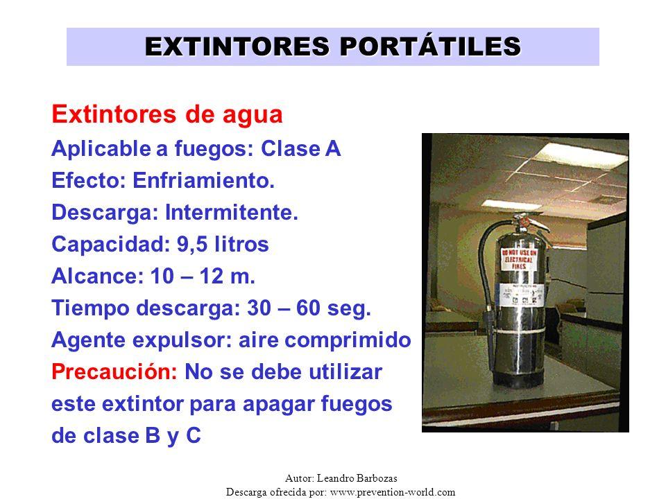 Autor: Leandro Barbozas Descarga ofrecida por: www.prevention-world.com EXTINTORES PORTÁTILES Extintores de agua Aplicable a fuegos: Clase A Efecto: E