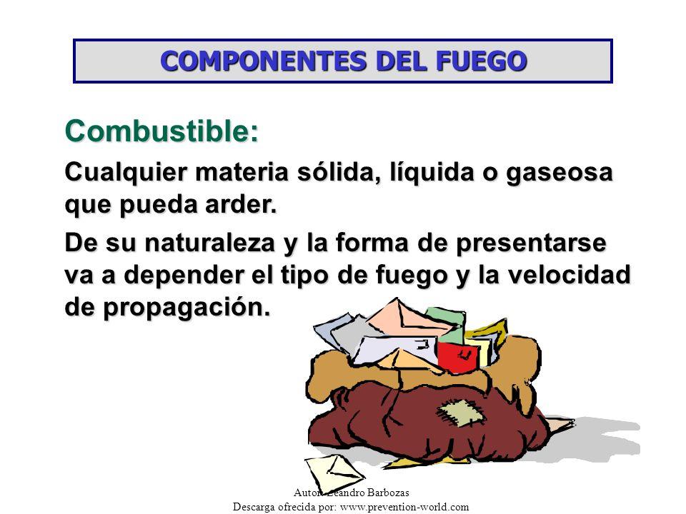 Autor: Leandro Barbozas Descarga ofrecida por: www.prevention-world.com COMPONENTES DEL FUEGO Comburente: La sustancia combustible se combina con el comburente, para iniciar el proceso de combustión.