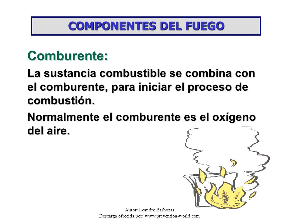 Autor: Leandro Barbozas Descarga ofrecida por: www.prevention-world.com COMPONENTES DEL FUEGO Comburente: La sustancia combustible se combina con el c