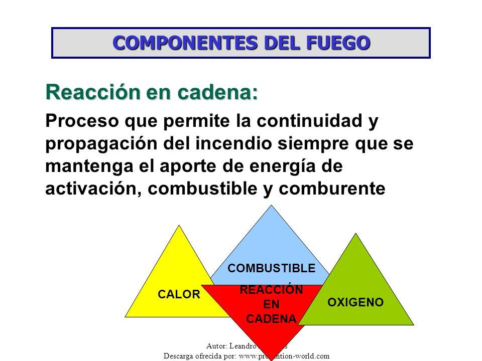 Autor: Leandro Barbozas Descarga ofrecida por: www.prevention-world.com COMBUSTIBLE CALOR REACCIÓN EN CADENA OXIGENO COMPONENTES DEL FUEGO Reacción en