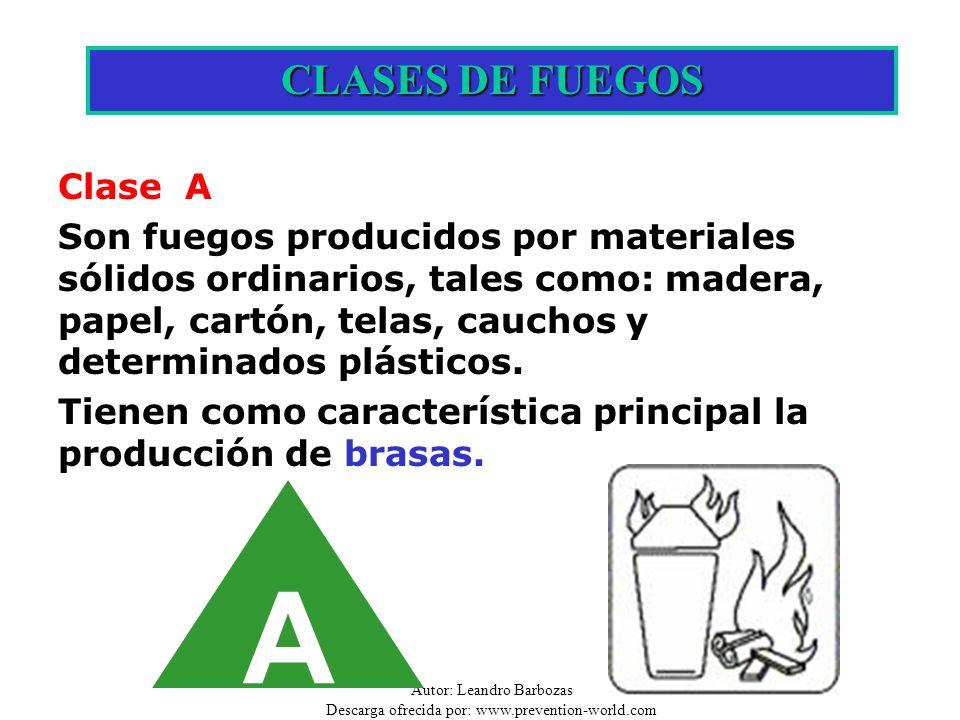 Autor: Leandro Barbozas Descarga ofrecida por: www.prevention-world.com A CLASES DE FUEGOS Clase A Son fuegos producidos por materiales sólidos ordina