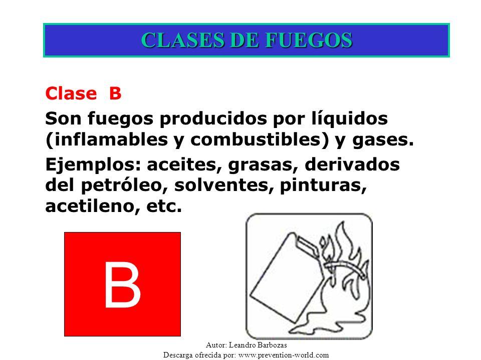 Autor: Leandro Barbozas Descarga ofrecida por: www.prevention-world.com B CLASES DE FUEGOS Clase B Son fuegos producidos por líquidos (inflamables y c
