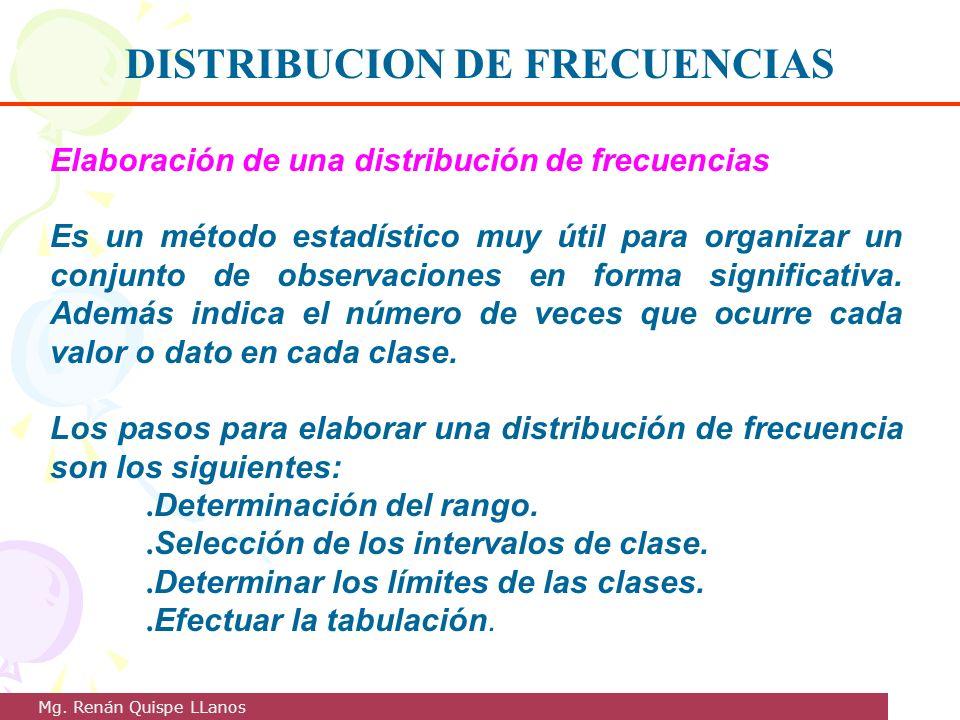 Elaboración de una distribución de frecuencias Es un método estadístico muy útil para organizar un conjunto de observaciones en forma significativa. A