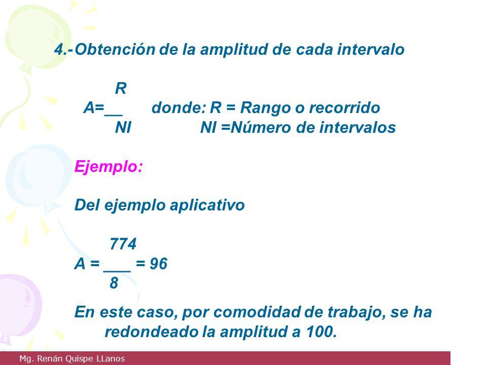 4.-Obtención de la amplitud de cada intervalo R A=__donde: R = Rango o recorrido NINI =Número de intervalos Ejemplo: Del ejemplo aplicativo 774 A = __