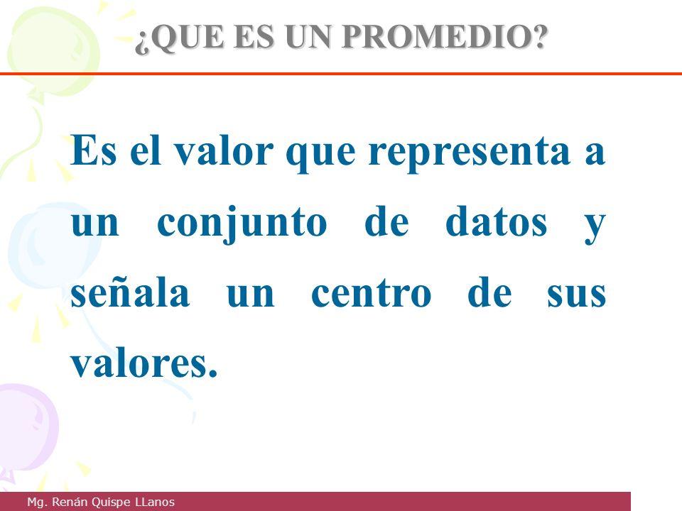 ¿QUE ES UN PROMEDIO? Es el valor que representa a un conjunto de datos y señala un centro de sus valores. Mg. Renán Quispe LLanos