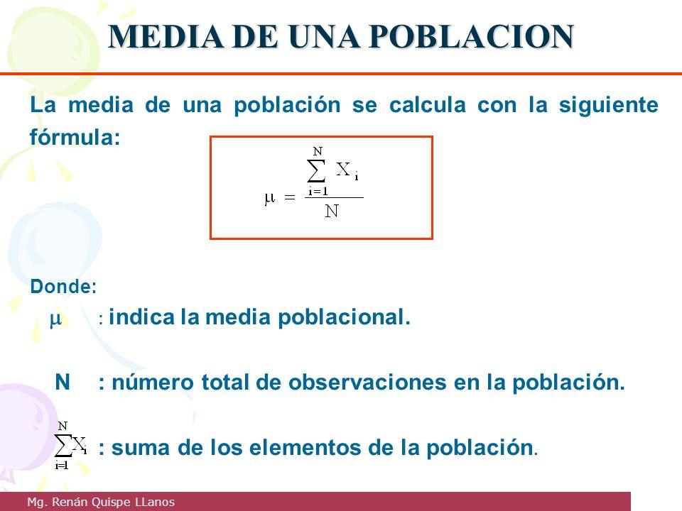 MEDIA DE UNA POBLACION La media de una población se calcula con la siguiente fórmula: Donde: : indica la media poblacional. N: número total de observa