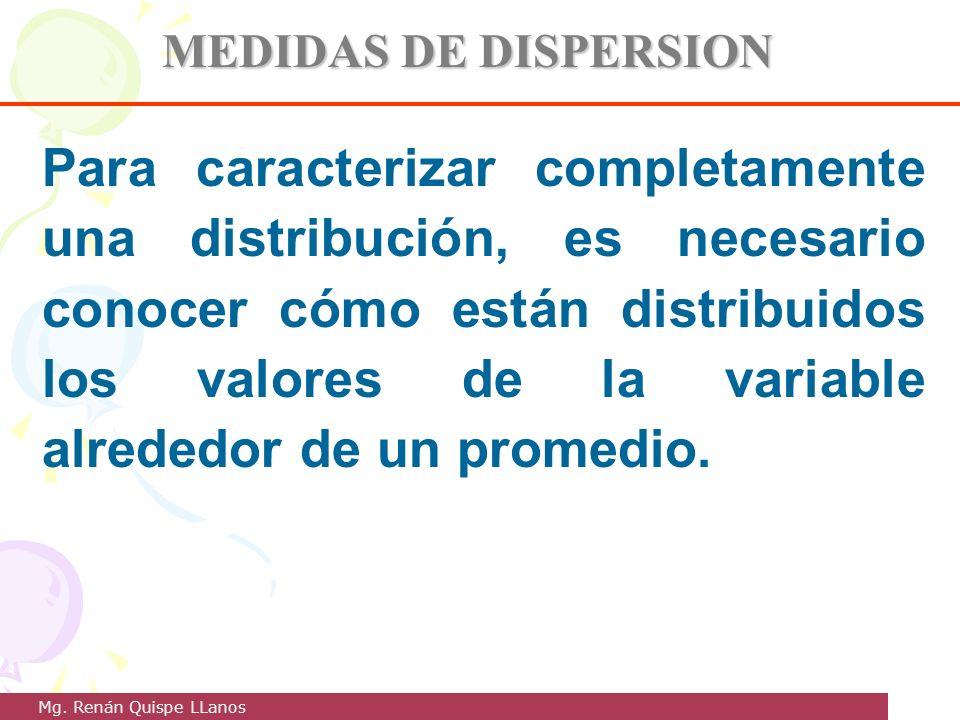 MEDIDAS DE DISPERSION Para caracterizar completamente una distribución, es necesario conocer cómo están distribuidos los valores de la variable alrede