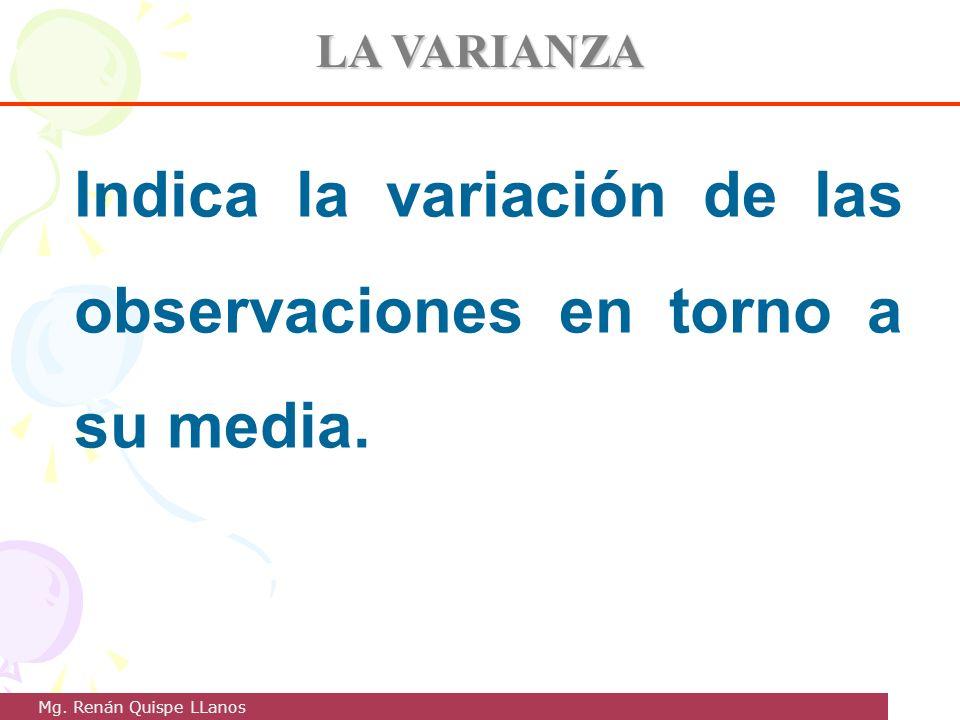 LA VARIANZA Indica la variación de las observaciones en torno a su media. Mg. Renán Quispe LLanos