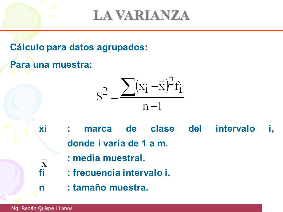 LA VARIANZA Cálculo para datos agrupados: Para una muestra: xi: marca de clase del intervalo i, donde i varía de 1 a m. : media muestral. fi: frecuenc