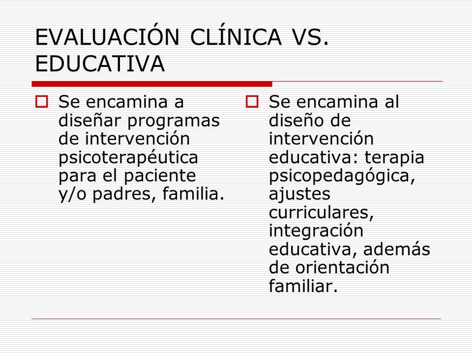 EVALUACIÓN CLÍNICA VS. EDUCATIVA Se encamina a diseñar programas de intervención psicoterapéutica para el paciente y/o padres, familia. Se encamina al