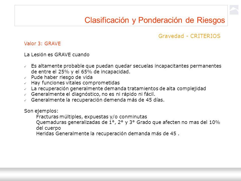 Ternium Siderar / DIND-SEHS 8 Clasificación y Ponderación de Riesgos Gravedad - CRITERIOS Valor 3: GRAVE La Lesión es GRAVE cuando Es altamente probab
