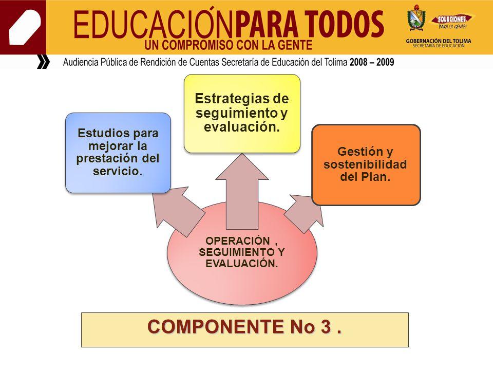OPERACIÓN, SEGUIMIENTO Y EVALUACIÓN. Estudios para mejorar la prestación del servicio. Estrategias de seguimiento y evaluación. Gestión y sostenibilid