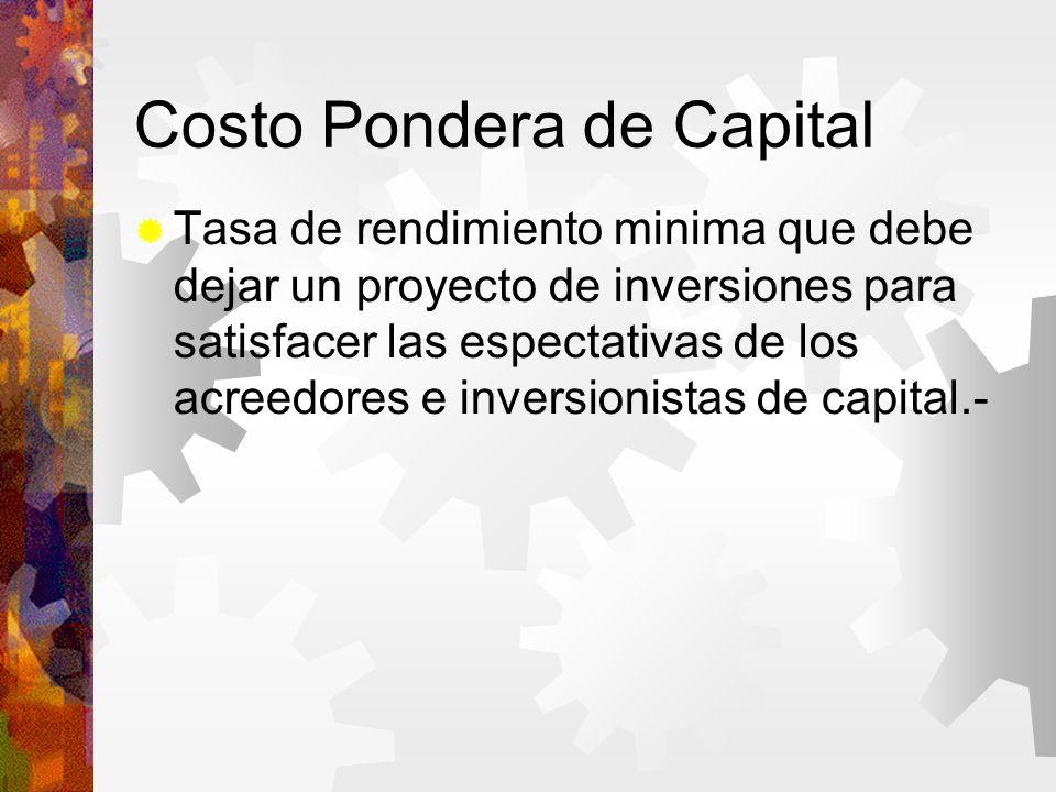 Costo Pondera de Capital Tasa de rendimiento minima que debe dejar un proyecto de inversiones para satisfacer las espectativas de los acreedores e inversionistas de capital.-