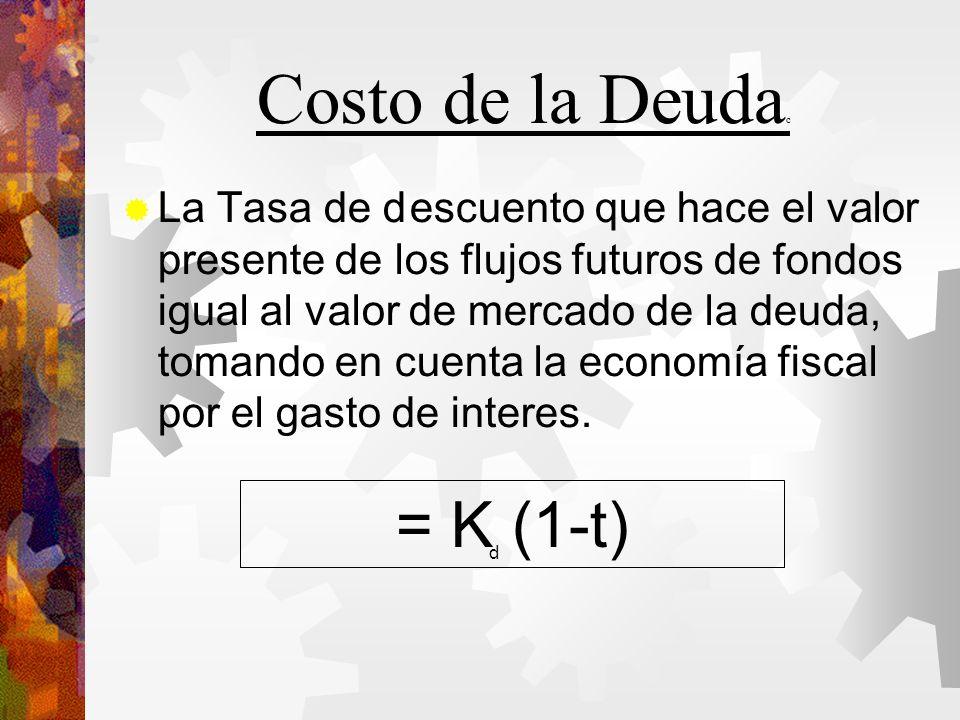 Costo de la Deuda c La Tasa de descuento que hace el valor presente de los flujos futuros de fondos igual al valor de mercado de la deuda, tomando en cuenta la economía fiscal por el gasto de interes.