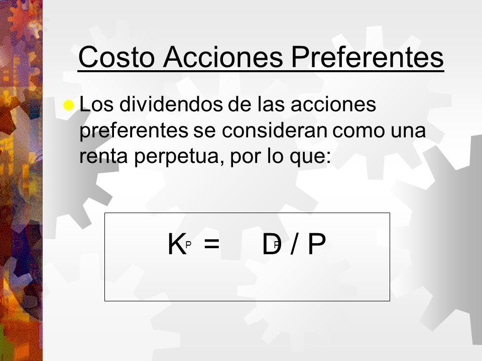 Costo Acciones Preferentes Los dividendos de las acciones preferentes se consideran como una renta perpetua, por lo que: K = D / P PP