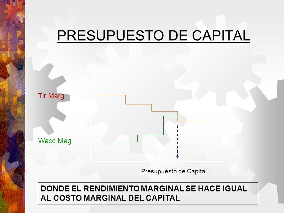 PRESUPUESTO DE CAPITAL Presupuesto de Capital Tir Marg.