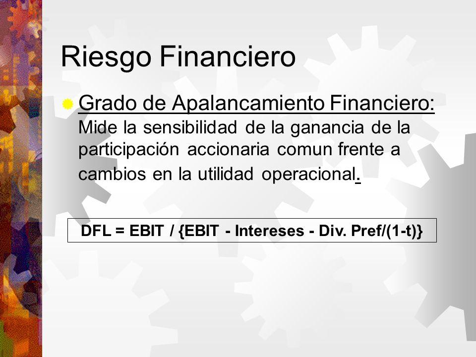 Riesgo Financiero Grado de Apalancamiento Financiero: Mide la sensibilidad de la ganancia de la participación accionaria comun frente a cambios en la utilidad operacional.