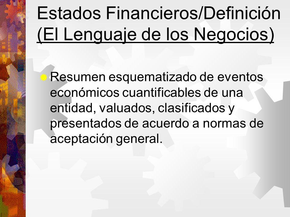 Estados Financieros/Definición (El Lenguaje de los Negocios) Resumen esquematizado de eventos económicos cuantificables de una entidad, valuados, clasificados y presentados de acuerdo a normas de aceptación general.