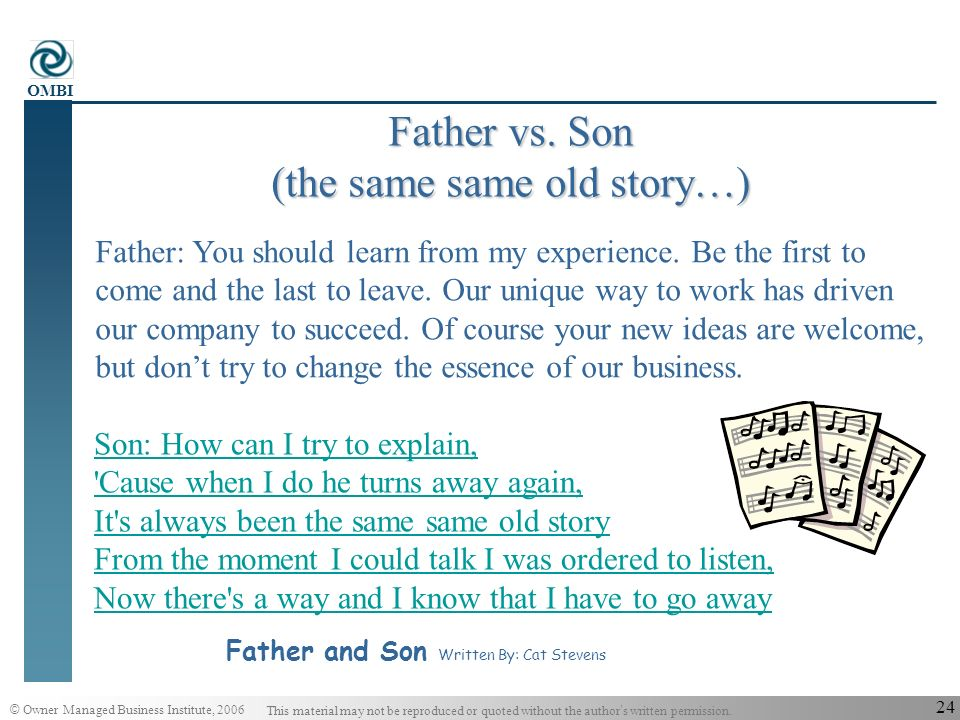 © Owner Managed Business Institute, 2006 This material may not be reproduced or quoted without the author s written permission. OMBI 23 Father vs. Son