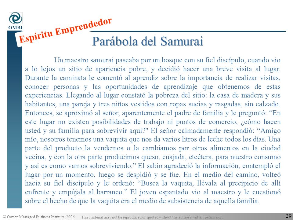 © Owner Managed Business Institute, 2006 This material may not be reproduced or quoted without the author s written permission. OMBI 28 Tiempo Número