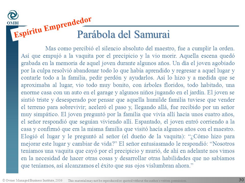 © Owner Managed Business Institute, 2006 This material may not be reproduced or quoted without the author s written permission. OMBI 29 Parábola del S