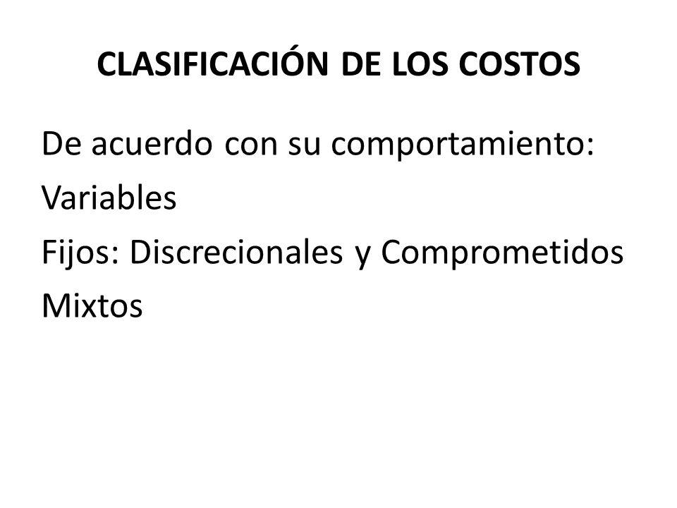De acuerdo con su comportamiento: Variables Fijos: Discrecionales y Comprometidos Mixtos CLASIFICACIÓN DE LOS COSTOS